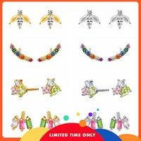Boucles d'oreilles Crystals colorés Roxi Ins pour femmes Boucles d'oreilles piercing de trèfle arc-en-ciel 925 bijoux en argent sterling pendientes