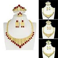 Dubai Gold Color Jewelry Sets Wedding Gifts For Women African Bridal Nigeria Crystal Party Bracelet Necklace Earrings Ring &