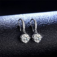 Real 925 Sterling Silver 1 Round Brilliant Cut Pass Diamond Tester D Color Moissanite Wedding Drop Earrings Women Jewelry