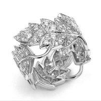 Boyutu 6-10 Basit Moda Takı 925 Ayar Gümüş Açacağı Beyaz Topaz CZ Elmas Taşlar Eternity Parti Kadınlar Düğün Yaprak Yüzük Seti Hediye