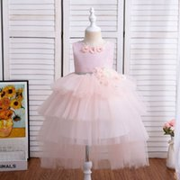 Girl's Dresses Baby Girls Dress Kids Clothes Child Lace Long Princess Pettiskirt Party Formal 1st Birthday Flower Tiered Skirts B5448