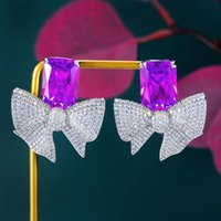 Dangle & Chandelier Missvikki High Quality Luxury Bowknot Yellow CZ Pendant Earrings For Women Bridal Wedding Party Daily Trendy Jewelry Acc