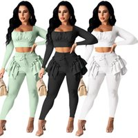 wholesale items fashion long sleeve sportswear two piece set tracksuits outfits trousers sweatsuit pullover tights legging suits klw7391