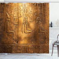 Cortina de ducha egipcia Egipto Heroglíficos Antiguo LOGOGRÁFICO Detalles y elementos alfabéticos Tela de poliéster Decoración de baño Conjunto de cortinas