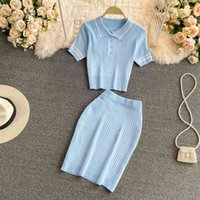 Two Piece Dress Sweet Casual Knitted Set Women Sexy Crop Top + Bodycon Mini Skirt Girls Sweater & Suits 2pcs Outfits R28T