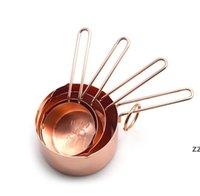 Herramientas de medición Copas de acero inoxidable de cobre Tazas de 4 piezas Conjunto de herramientas de cocina Herramientas de fabricación de pasteles y mangulos para hornear HWB9665