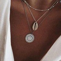 Acessórios de praia de prata acessórios de moda jóias boho shell grânulos sol multi-camada colar de colar colares pingentes pingente