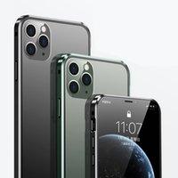 Für iPhone 12 Mini PRO MAX DUAL GLAS Magnetische Koffer Adsorption Metall Stoßfänger Klare Abdeckung 50pcs / up