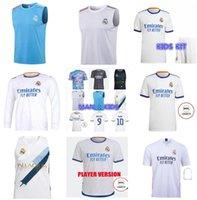 성인 어린이 여자 20 22 22 레알 마드리드 세 번째 축구 유니폼 조끼 선수 버전 위험 Sergio Ramos Kroos Camiseta de Futbol 2020 2021 2022 긴 소매 축구 셔츠