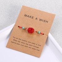 Handgemachtes druzy Harz Stein Armband machen einen Wunschkarten Wachs Seil geflochtene Armbänder Armreifen mit Reisperlen für Frauen Mädchen Sommerstrand 186 Q2