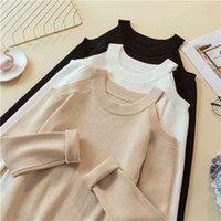 LJSXLS Sexy Off Shoulder Knitted Sweater Women Solid Slim Pullover White Black jumpers Autumn Winter Female Tops 210914