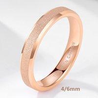 Tigrade Wolframkarbid Rose Gold Frosted Ring 4mm 6mm Für Frauen Männer Hochzeit Engagement Band Matte gebürstet Weibliche Anillos Mujer