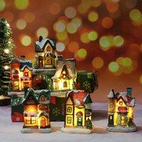 6 pezzi Light Up Decorazioni natalizie Led Miniature Casa Villaggio, Scena di Natale Snow Snow Landscape House Village Building Set P0831