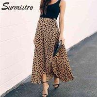 SURMIITRO Polka Dot Print Long Maxi Summer Skirt Women Fashion White Black Split High Waist Sun Wrap Aesthetic Skirt Female 210726