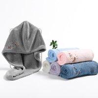 Towel Shower Wrap Head Hair Cap Kids Embroidered Rainbow Turban Bath Spa Fast Dry Twist Fleece 1 2 5 10 Pcs