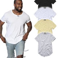 T-shirt HIP HOP HOP Curved HIP Men Urban Kpop T-shirt étendu Plaine Longue Mens T-shirts Vêtements mâles Round Long Line Tops Streetwear T-shirts