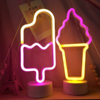 LED Neon Light Neons Sign Ice Cream Night Lights Table Lamp Pastry Display Holiday Creative Shop Home Girl Bedroom Decoration