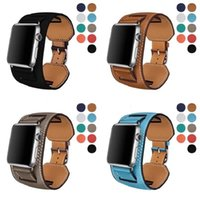 Genuine leather Cuff Bracelet strap for apple watch 44mm 40mm 38mm 42mm Fashion Design Straps Fit iwatch band Seires 7 6 SE 5 4 3 2 Wrist watchband metal classic buckle