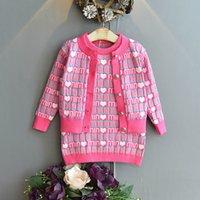 الفتيات سترة مجموعات الاطفال ملابس ملابس الطفل تتسابق الخريف الشتاء أنماط الحياكة سترة معطف أكمام اللباس سترة الدعاوى B8362