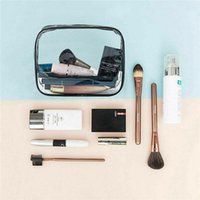 Storage Bags Transparent Makeup Bag With Handle Strap Large Capacity Zip Up Cosmetic Pouch For Outdoor
