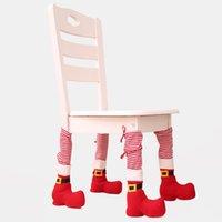 Tabla de Navidad Cubierta del pie Inicio Decoraciones de Navidad de la Navidad Mesa de comedor Cubierta de la silla de la silla de la pata de las taburas Cubiertas de silla de Navidad GWE8731