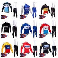 Equipo de paso rápido Primavera / Autum Mens Cycling Mangas largas Jersey 9D Pantalones de baberos Conjuntos Transpirable Bike Pro Team Cycling Traje Ropa Ciclismo S080703