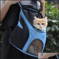 Home Garden Portadores, Cajas Casas Suministros Malla transpirable Mochila transpirable para gatos Viajes al aire libre Gato Transporte Llevar Bag Pet Pot