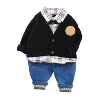 Baby Clothing Sets Boys Suits Kids Outfits Spring Autumn Long Sleeve Cardigan Coat Shirts Jeans Pants Trousers 3Pcs 0-3T B5216
