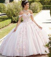 Light Pink Quinceanera Dress 2021 Off The Shoulder Appliques Sequins Backless Princess Sweet 16 Ball Gown Vestidos De 15 Años