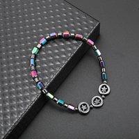 Magnetico ovale Ematite di pietra perlina Anklets Braccialetto Arcobaleno Star Donne Summer Beach Salute Energia Guarigione Anklets Model Piede Gioielli504 T2