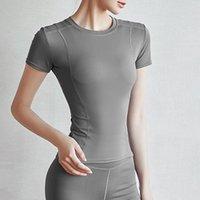 여성용 티셔츠 여성용 짧은 마른 슬림 티셔츠 짧은 소매 러닝 스포츠 탑 여성 편안한 체육관 피트니스 통기성