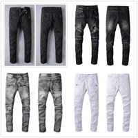 2021 Mens Moda Skinny Skinny Slim Slim Ripped Jean Elastic Casual Moto Moto Biker Stretch Denim Pantalone classico 1091 Pantaloni Jeans Dimensioni 28-40