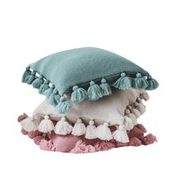 Linda funda de almohada breve suave color puro fundas de almohada linterna bola dulce borlas de cremallera cojín cubierta decoración del hogar