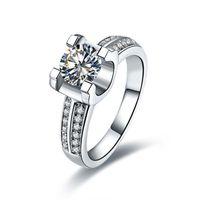 Brand Ring Moissanite Test Positive 1CT Diamond Carbon For Women White Gold 14k Engagement Finger Cluster Rings