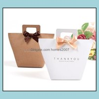 Wrap Event Festive Party Supplies Home & Gardenthank You Gift Box Bag With Handle Foldable Wedding Kraft Paper Candy Chocolate Per Packaging