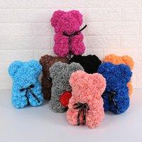 25cm PE Plastique Fleurs artificielles Bear Main Fabriqué 18 couleurs Foam Rose Teddy Saint Valentin cadeau cadeau anniversaire fête de fête d'anniversaire