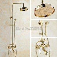 """Golden Brass Bathroom 8 """"Polegada Rainfall Chuveiro Estilo Torneira Conjunto w / Dual Cerâmica Punho Misturador Misturador Torneira + Spray de Mão LGF421"""