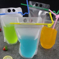 DHL Ship 17oz Clear Drinkware Stand-up Plastic Drink Pouches Bags Frosted Zipper Drinking Bag with Straw Holder Reclosable Heat-Proof