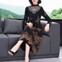 Clothes 2021 Autumn Plus Size Printing Slim Mother Dress Retro Lace Hollow Out Patchwork Flower Elegant Lady Vestidos 4XL Y650 Casual Dresse