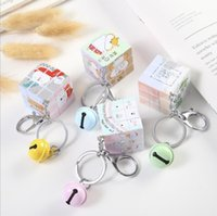 Decompression Toy 3.5cm Mini Printed Puzzel magic Cube Pendant with Bell Chain Key Ring Small Speed Puzzles Toys for kids adult