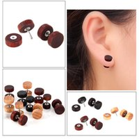 1 pc Fashion Natural Wooden Ear Studs Earnings For Women Men Wood Round Dumbbell Piercing Punk Earrings Stud