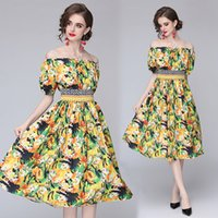 Strapelss Dress Boutique Womens Printed Dress Summer Floral Dress High-end Fashion Casual Lady Dresses Party Holiday Dresses
