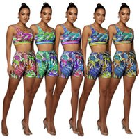 New Women's Two Piece Pants Tracksuits 2 Piecess Sleeveless Vest Tshirt Crop Top Shorts Casual Beach Print Sleeve Less Sport Suits Plus Size