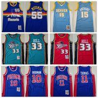 Baloncesto Mitchell Ness Dikembe Mutombo Jersey 55 Isiah Thomas 11 Dennis Rodman 10 Grant Hill 33 Carmelo Anthony 15 Vintage Blanco Azul