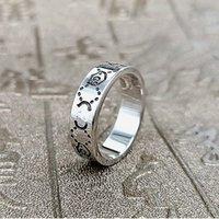 2021 Fashion 925 sterling sterling skull skull anelli 6mm per uomo e donna di lusso promessa promessa campionati amanti dei gioielli regalo