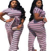 Plus Size Tracksuits Clothing Women Summer Two Piece Set Stripe Crop Top Elastic Waist Casual Flared Pants Sets Wholesale Drop