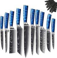파란색 에폭시 수지 손잡이와 주방 요리사의 나이프, 럭셔리 칼 부엌에 대 한 설정. 다마스커스 패턴 일본 고기 칼 슬라이싱 유틸리티 _ 구멍 도구