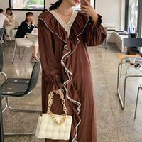 Autumn Brown Black White Lace Patchwork Midi Dress For Women Sexy V-Neck Flare Sleeve Ruffle Loose Dresses Female Fashion 210426
