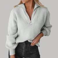 Women's Sweaters Women Fall Sweater Winter Pullover V Neck Long Sleeve Tops With Half Zip For Womens Fashion 2021 Sueters De Mujer