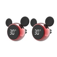 Car Air Freshener Portable Digital LCD Clock Temperature Display Electronic Clock Thermometer Accessories Red 2Pcs